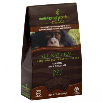 Endangered Species Chocolate Squares Supreme Dark 72% Cocoa Natural 10 ct