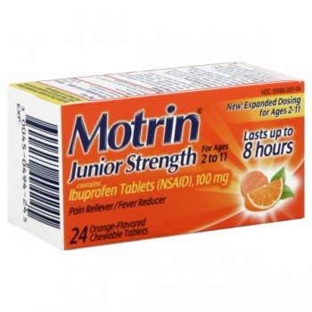 Motrin Junior Strength Ibuprofen 100 mg Orange Flavor Chewable Tablets