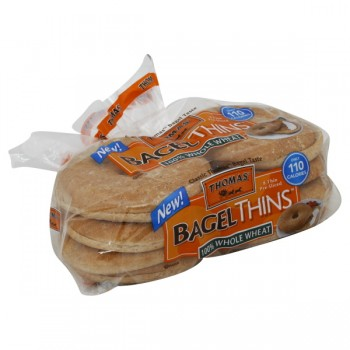 Thomas' Bagel Thins 100% Whole Wheat Pre-Sliced - 8 ct