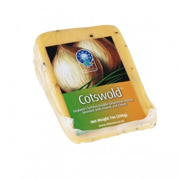 Clawson Cheese Cotswold (Double Gloucester with Onions & Chives) Wedge