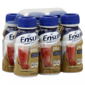 Ensure Plus Nutrition Shake Strawberries & Cream - 6 pk