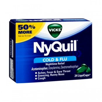 Vicks NyQuil Cold & Flu Relief Multi-Symptom LiquiCaps (No PSE)
