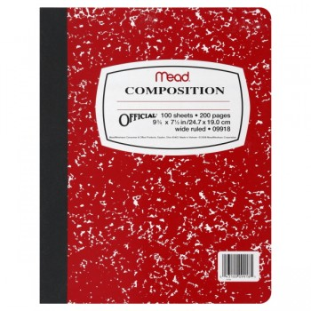 Mead Square Deal Black Marble Composition Notebook Wide Ruled 9.5X7.5 Inch