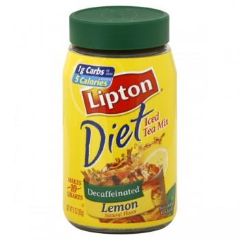 Lipton Lemon Iced Tea Mix Decaffeinated Diet NutraSweet - Makes 10 Quarts