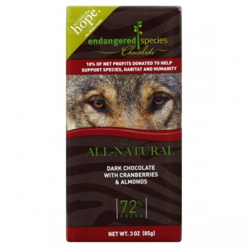 Endangered Species Chocolate Dark Cranberries & Almonds 72% Cocoa Natural