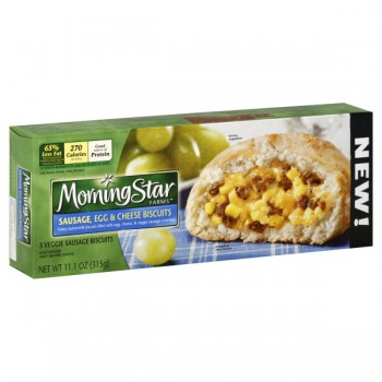 MorningStar Farms Veggie Breakfast Sausage, Egg & Cheese Biscuits - 3 ct