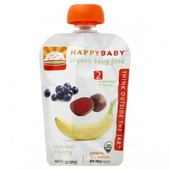 HAPPYBABY Stage 2 Baby Food Banana, Beet & Blueberry Organic