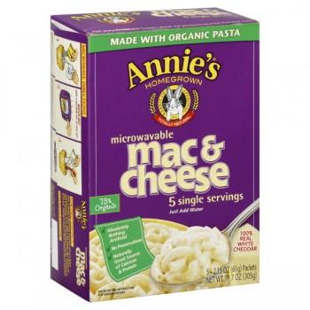 Annie's Homegrown Mac & Cheese White Cheddar Single Serve Micro - 5 ct