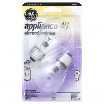 G.E. Appliance Light Bulb A-15 Clear Medium Base 40 Watt