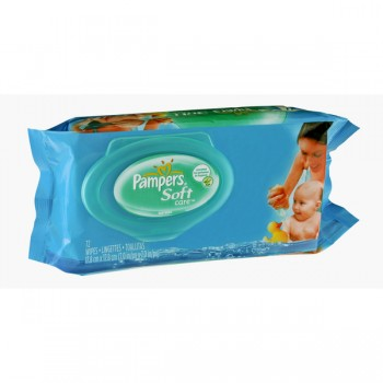 Pampers Soft Care Baby Wipes Unscented Resealable Carry Pack