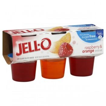 Jell-O Gelatin Cups Sugar Free Raspberry & Orange - 6 ct