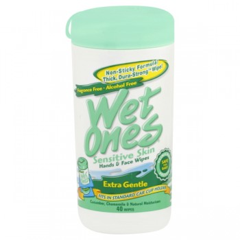 Wet Ones Sensitive Skin Hands & Face Wipes Extra Gentle