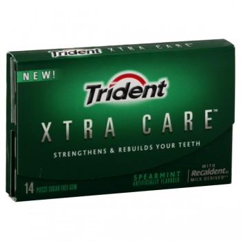 Trident Xtra-Care Gum Spearmint Sugar Free Single Pack