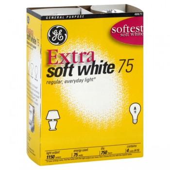 G.E. Extra Soft White Light Bulbs 75 Watt