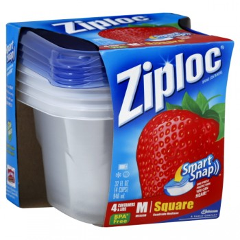 Ziploc Containers Cups Square with Snap 'n Seal Lids 32 oz