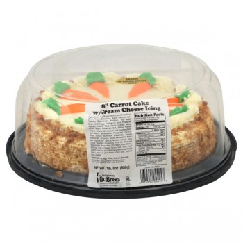 Bakery Cake Carrot with Cream Cheese Icing Single Layer 8 Inch