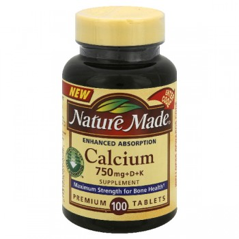 Nature Made Calcium 750 mg +D & +K Tablets