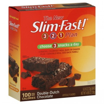 Slim Fast 3-2-1 Plan 100 Calorie Snack Bars Double Dutch Chocolate - 6 ct