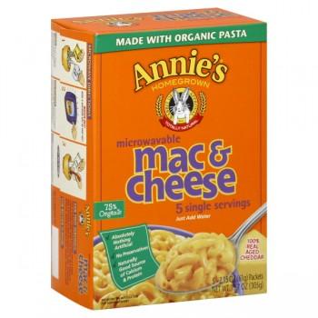 Annie's Homegrown Mac & Cheese Aged Cheddar Single Serve Micro - 5 ct