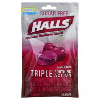Halls Cough Drops Sugar Free Black Cherry