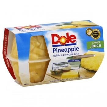 Dole Fruit Bowls Pineapple Tidbits in Pineapple Juice - 4 ct
