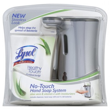 Lysol Healthy Touch No-Touch Hand Soap System Stainless Steel Aloe Vera