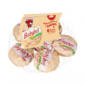 The Laughing Cow Mini Babybel Cheese Cheddar White Variety - 6 ct