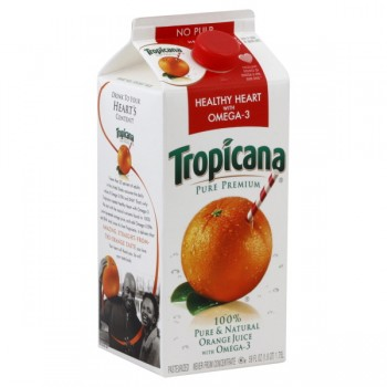 Tropicana Pure Premium 100% Orange Juice Healthy Heart Omega-3 Pulp Free