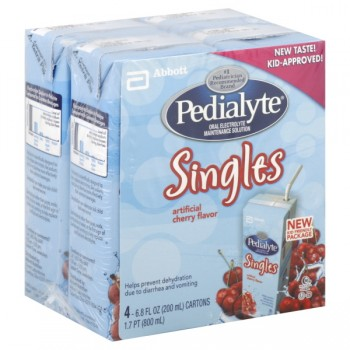 Pedialyte Singles Cherry Oral Electrolyte Maintenance Solution - 4 pk