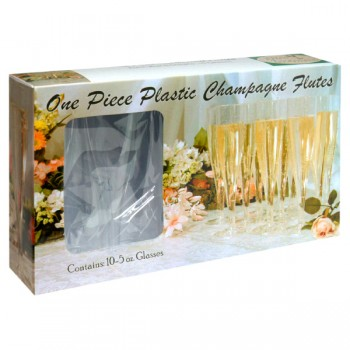 Event Essentials Glasses Champagne Flutes One Piece Clear Plastic 5 oz