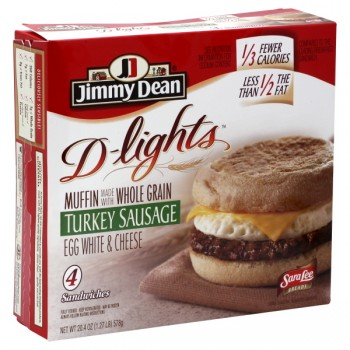 Jimmy Dean D-lights Muffin Sandwich Turkey Sausage, Egg White, Cheese 4 ct