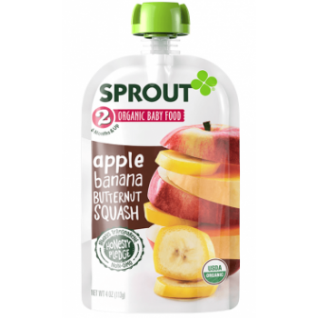 Sprout Organic Baby Food Stage 2 Apple, Banana & Butternut Squash