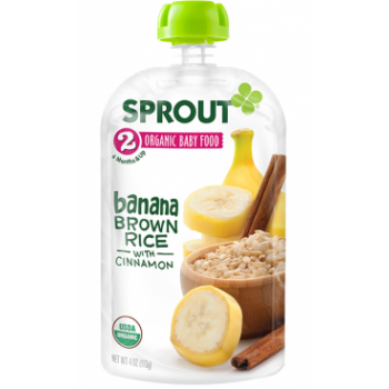 Sprout Organic Baby Food Stage 2 Banana Brown Rice with Cinnamon