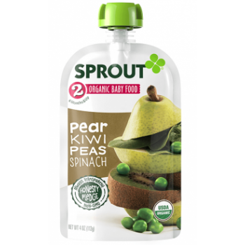 Sprout Organic Baby Food Stage 2 Pear, Kiwi, Peas & Spinach