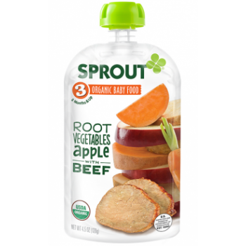 Sprout Organic Baby Food Stage 3 Root Vegetables & Apple with Beef