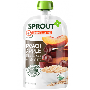 Sprout Organic Baby Food Stage 3 Peach Apple Multigrain with Cherry